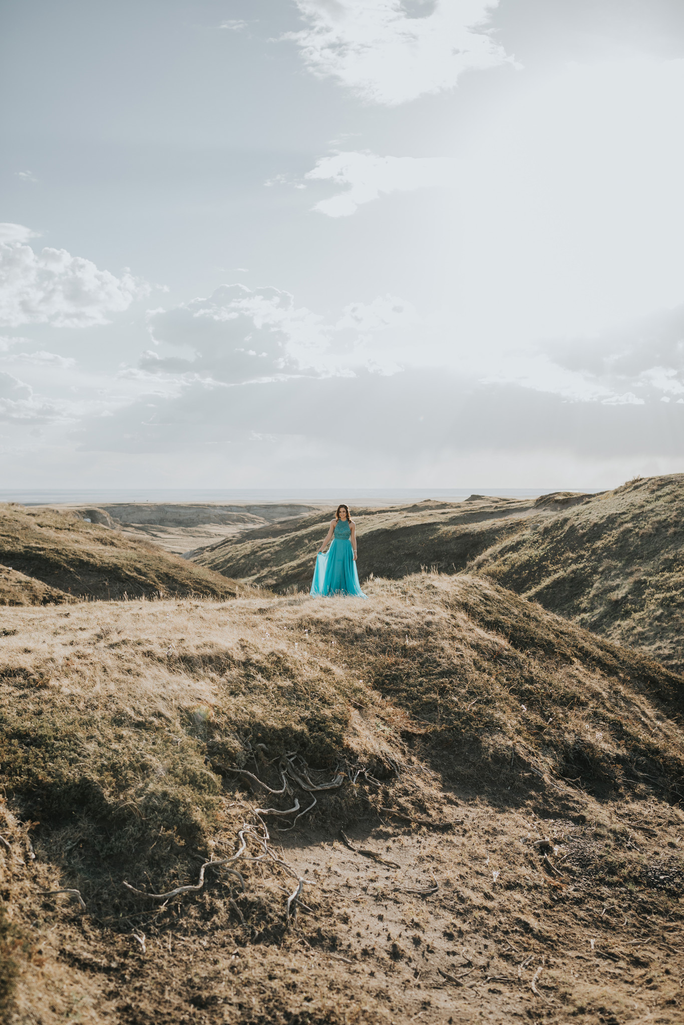girl standing in prom dress in distance landscape