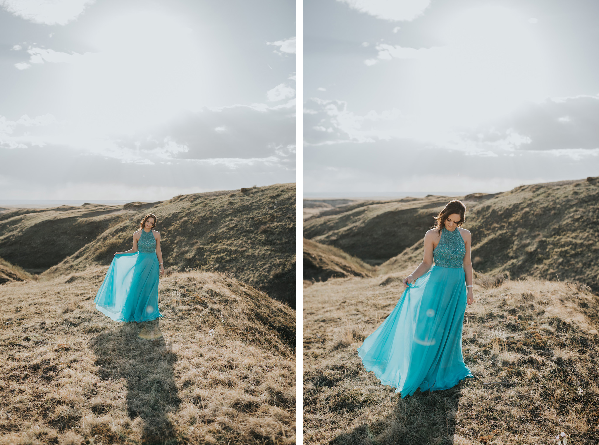 girl standing holding skirt of prom dress to catch the breeze