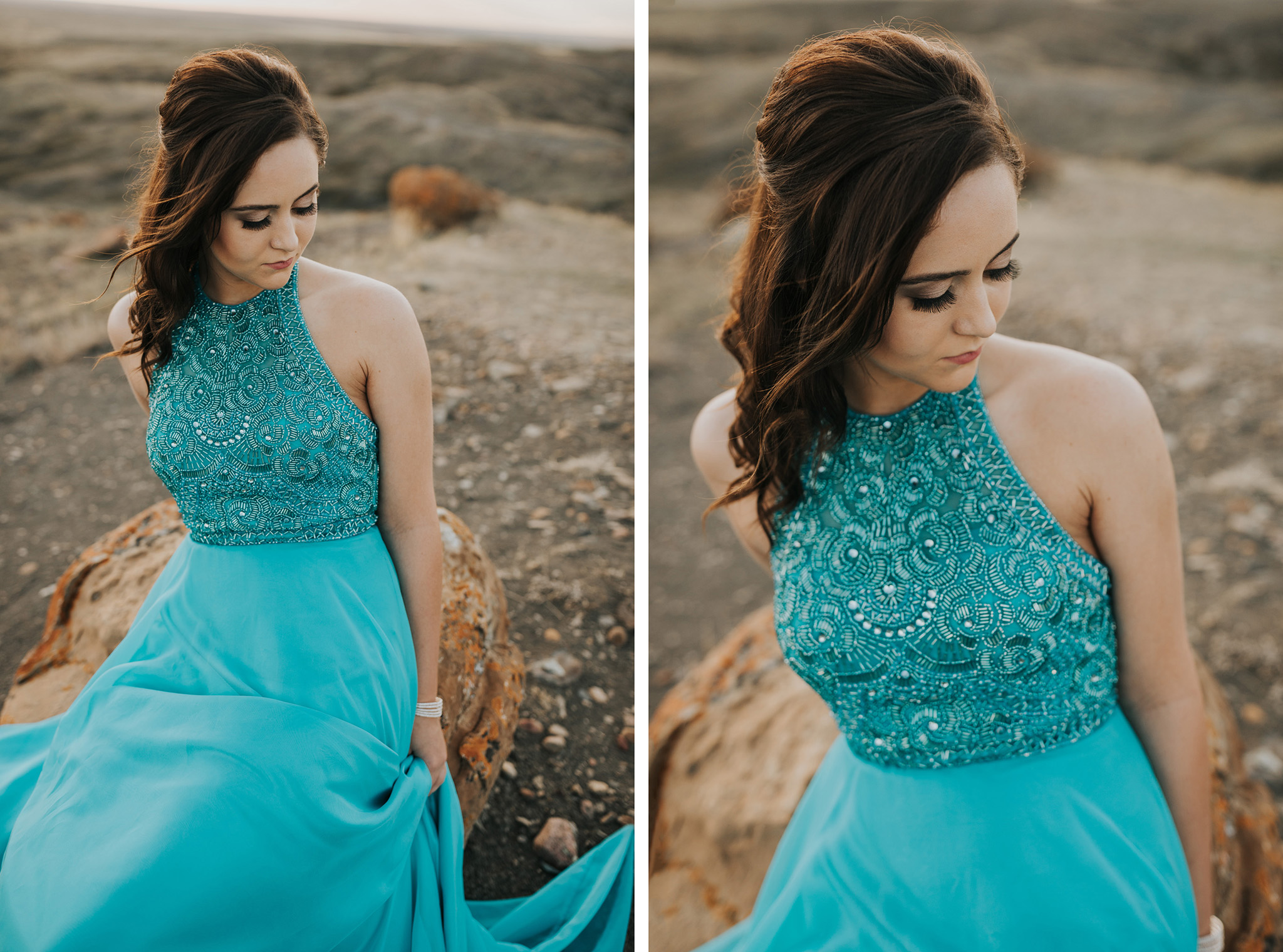 graduate in turquoise blue prom dress with beading on top