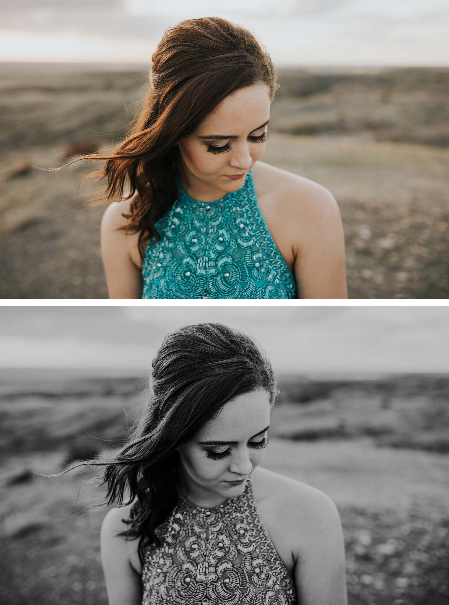 colour and black and white closeups of grad girl senior looking down hair blowing softly