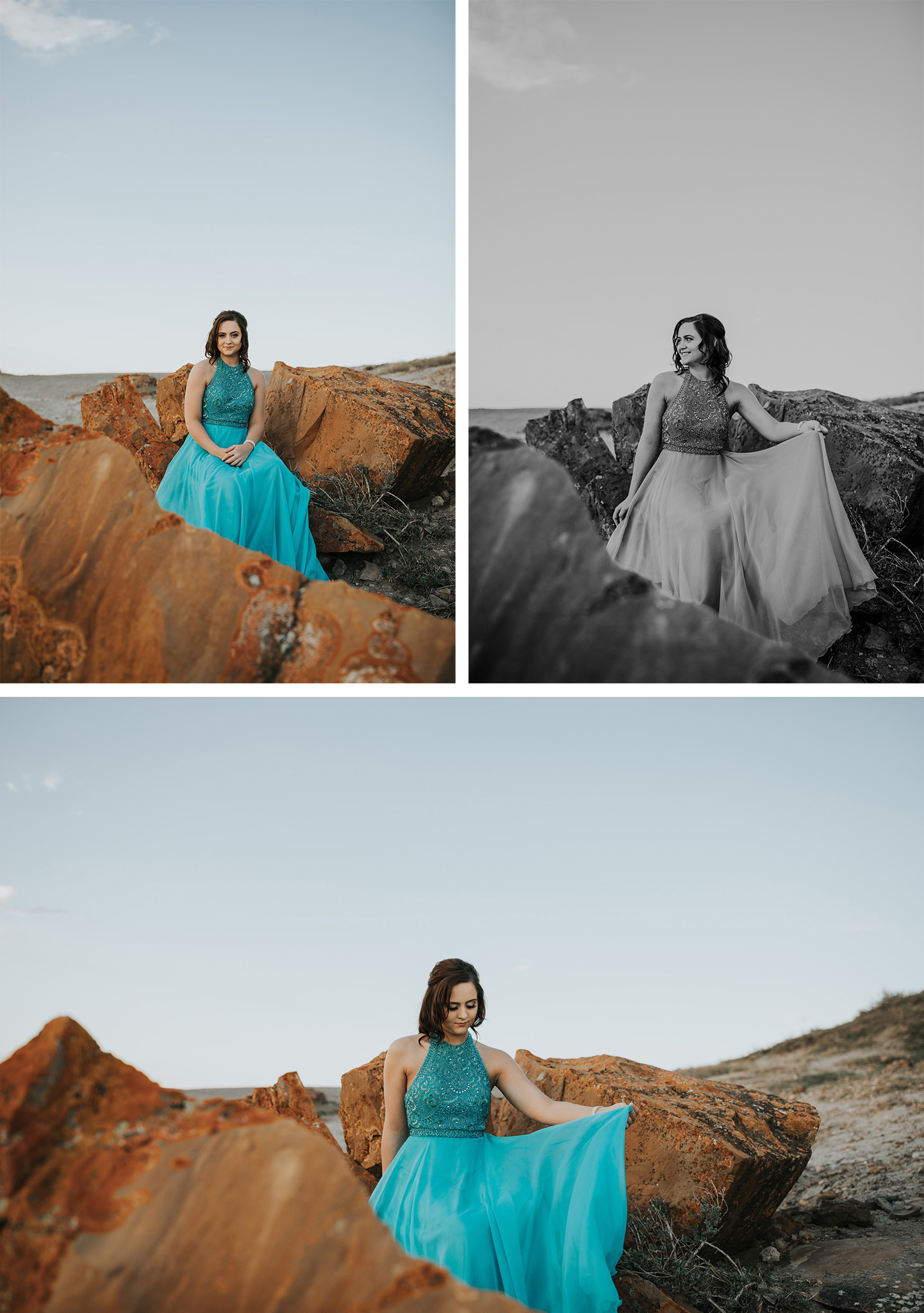 collage of graduate sitting in rock formation