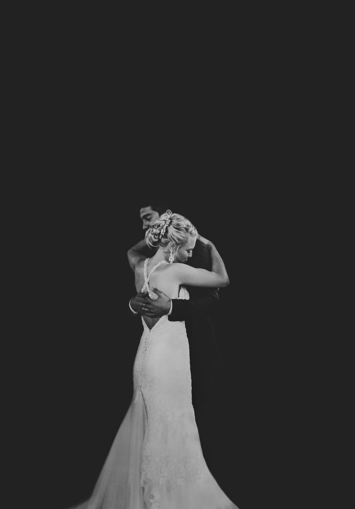 wedding couple first dance black and white artistic