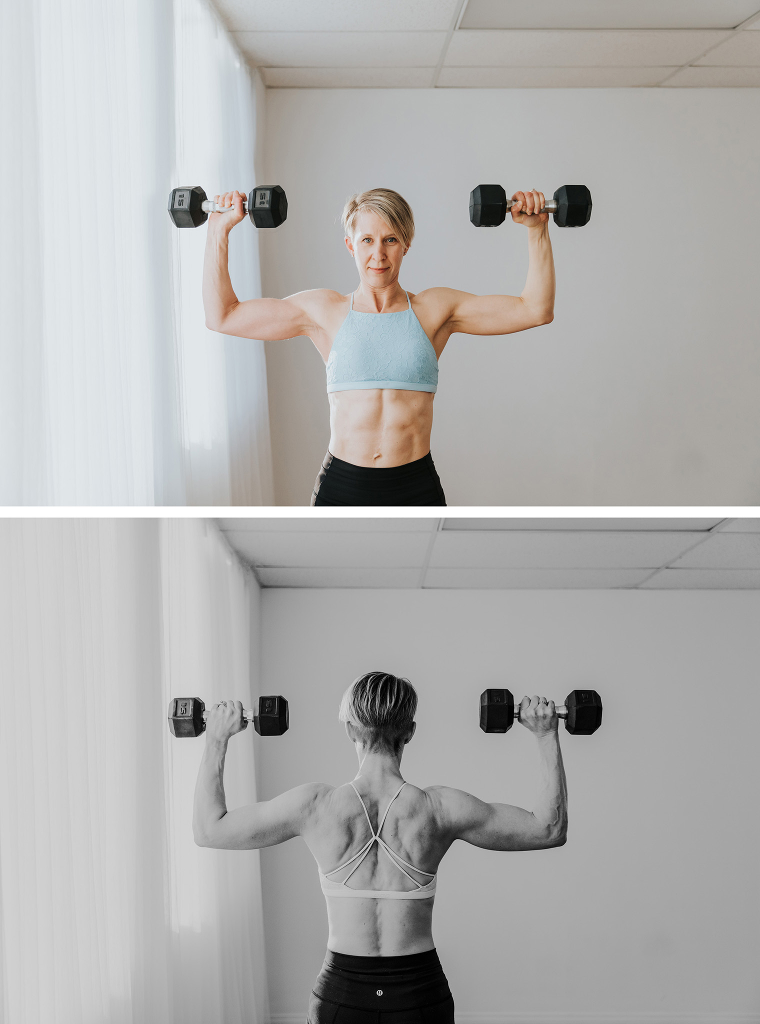woman holding dumbells up for shoulder press abs back