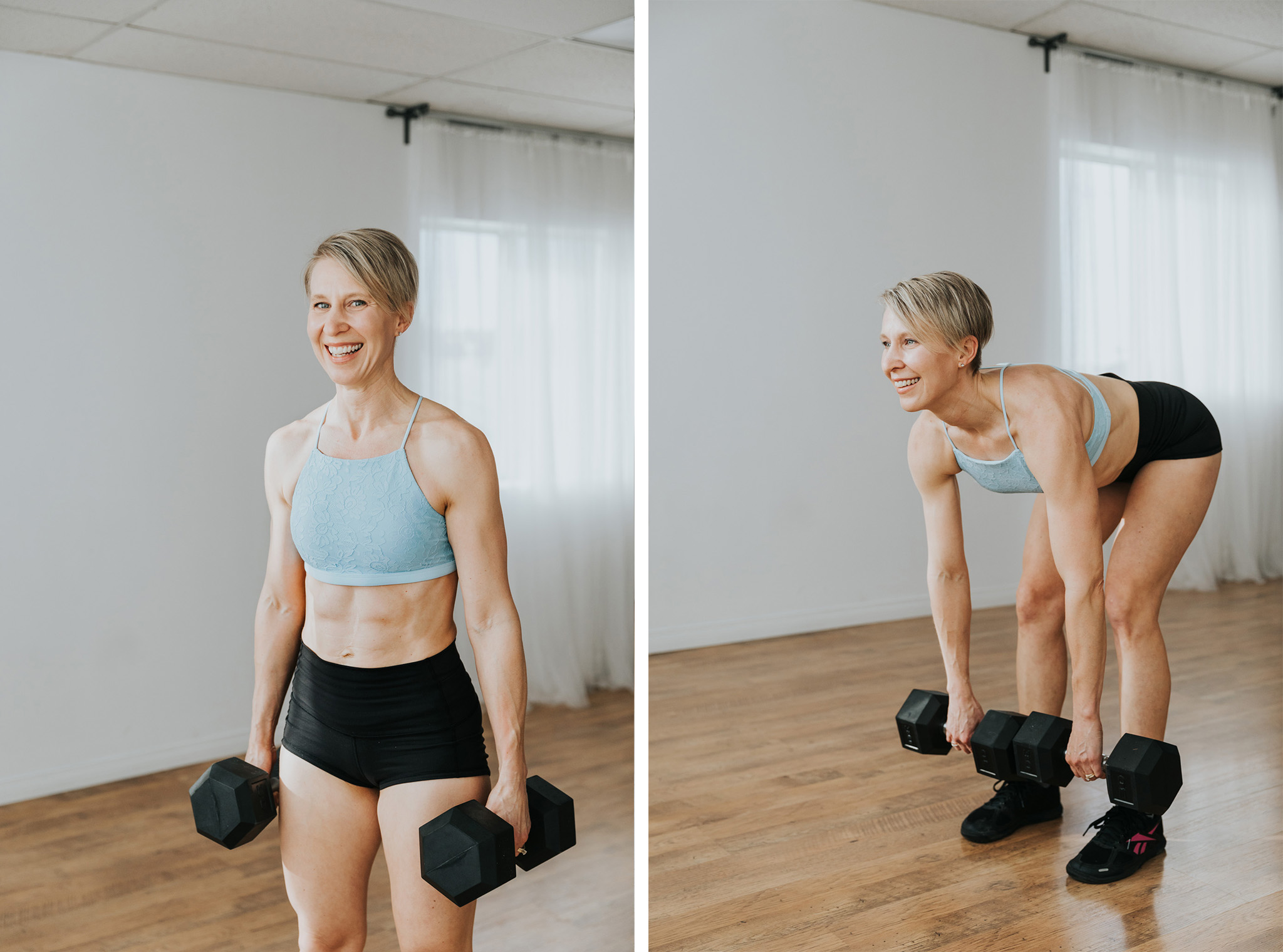 smiling woman squatting with dumbbells