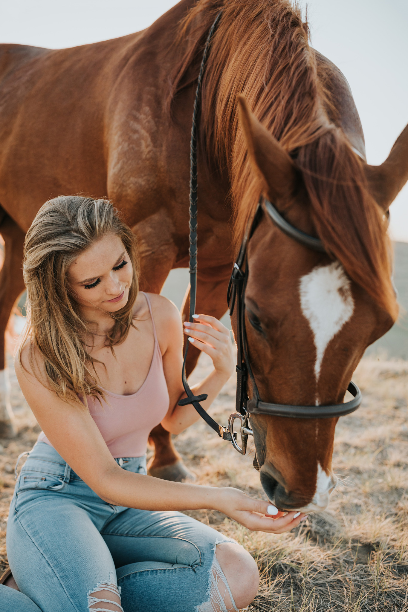 girl sitting beside and petting horse