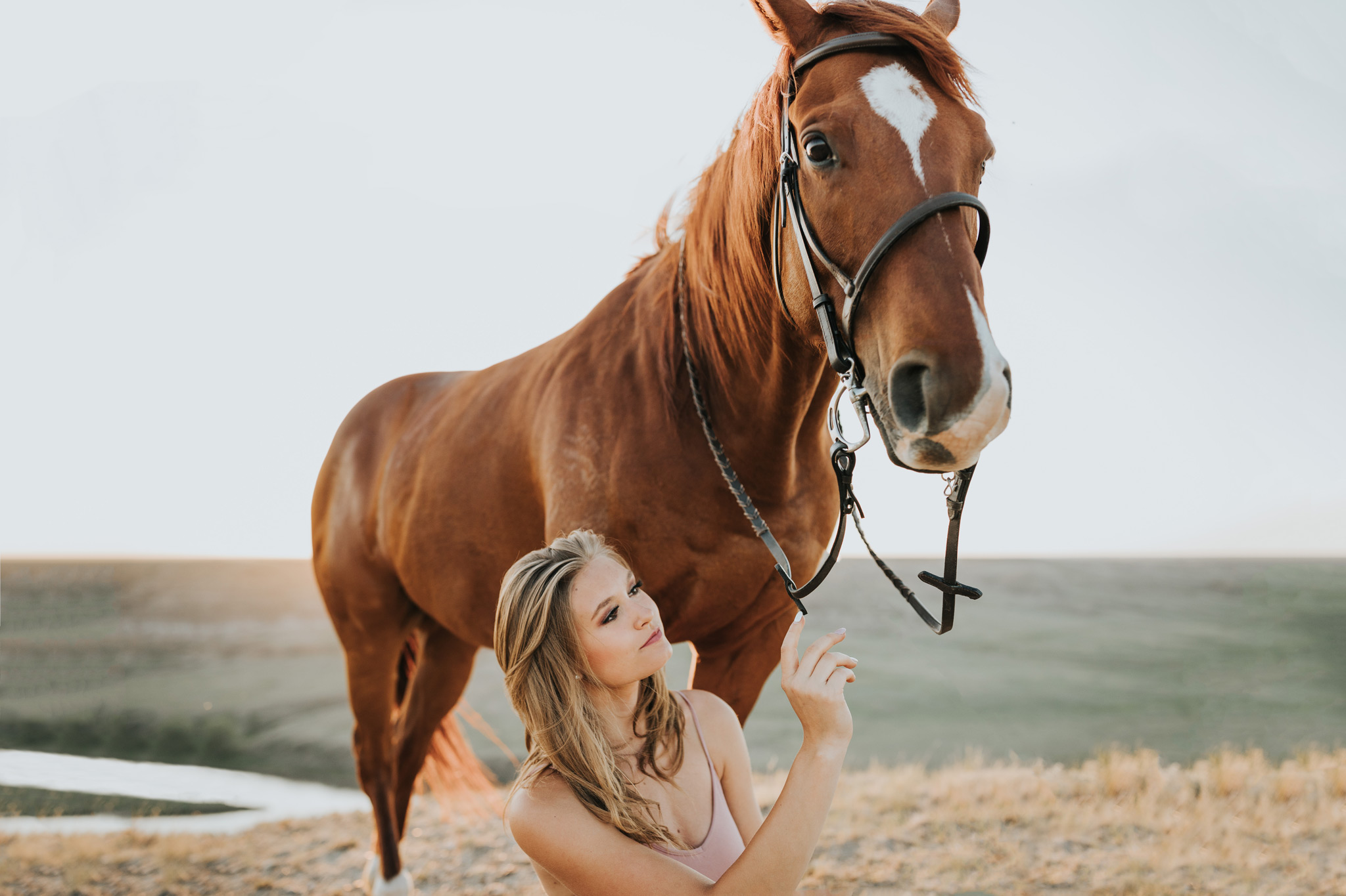 equine grad girl sitting beside horse reaching for reins