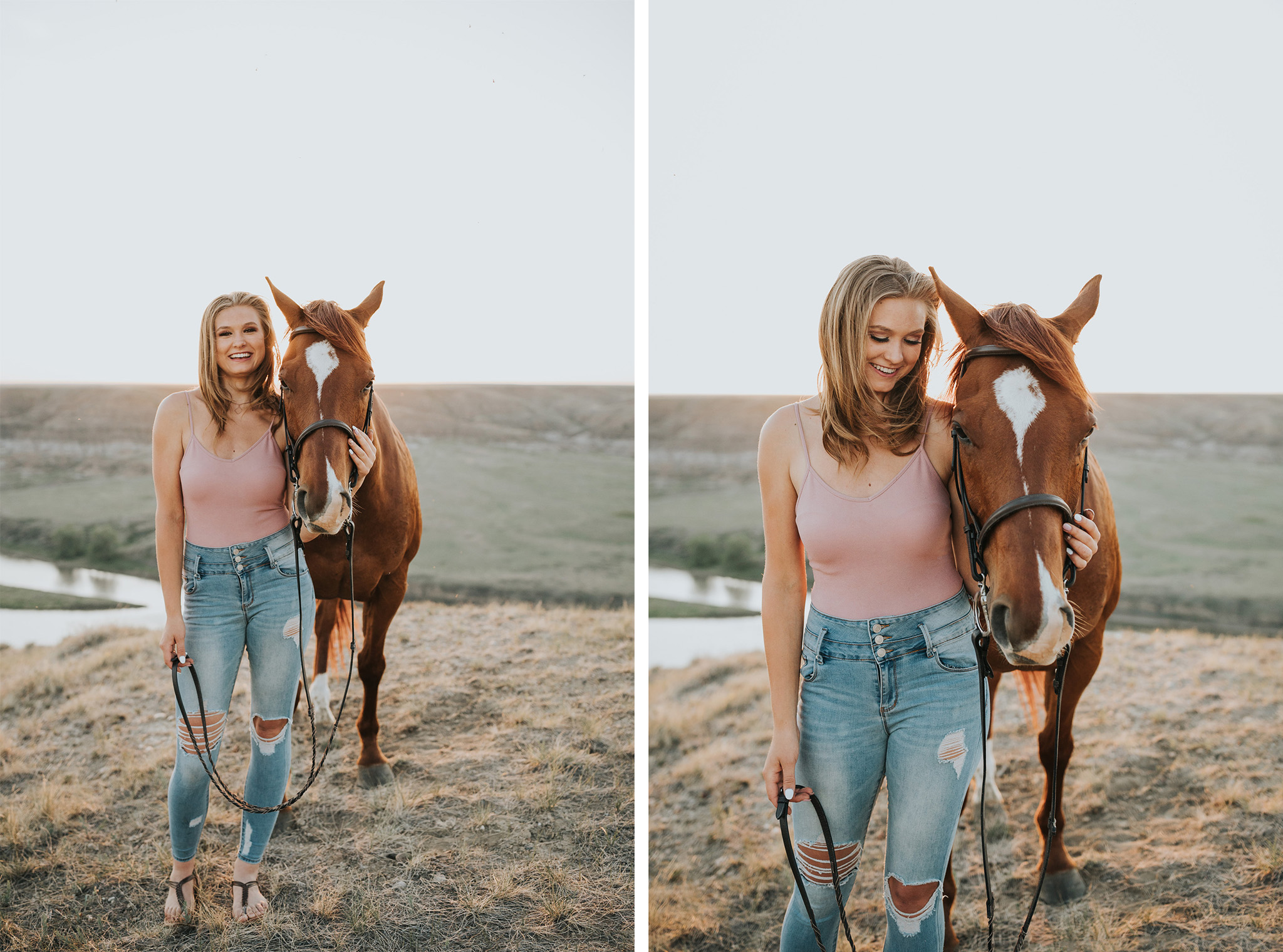 girl standing beside horse smiling laughing
