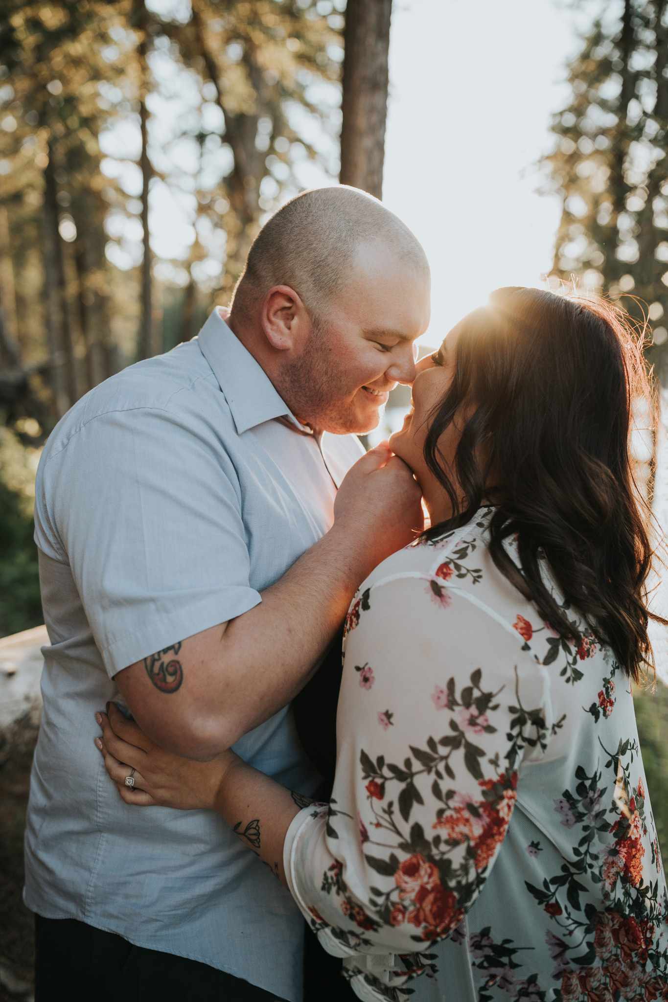 couple about to kiss romantic cypress hills engagement photo