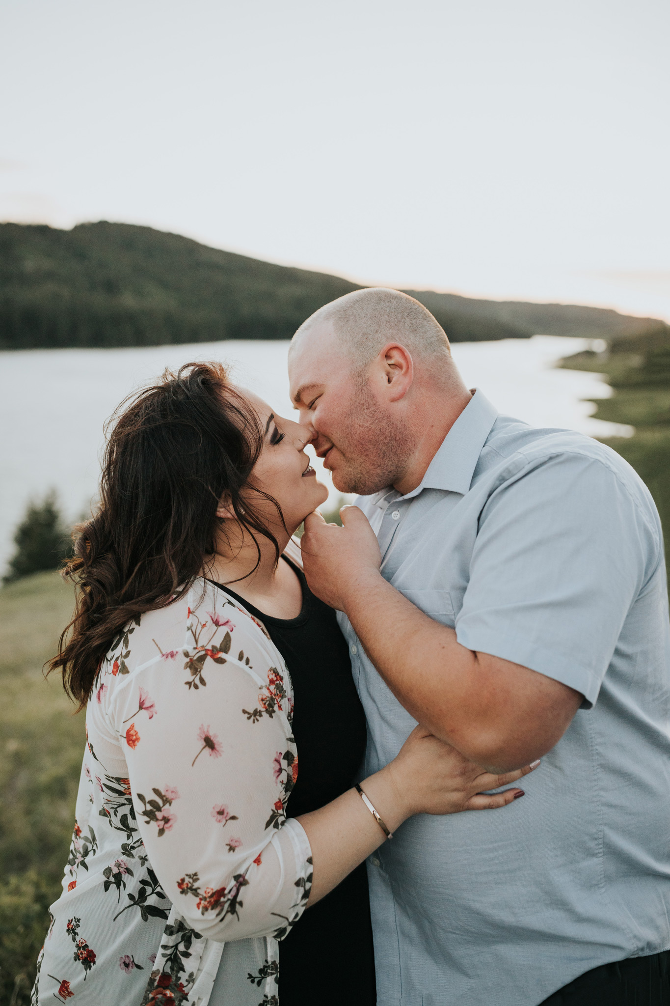 couple about to kiss reesor lake alberta engagement photo