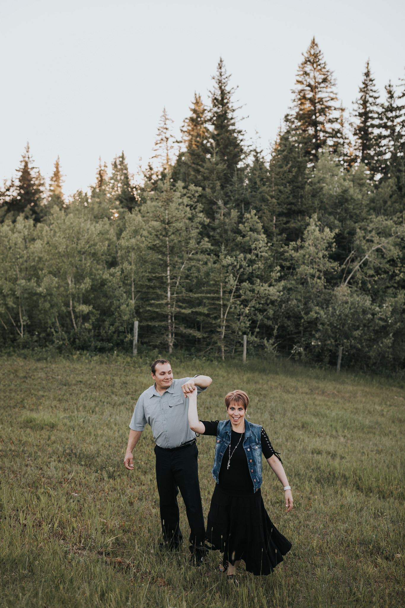 couple dancing at spruce coulee campground alberta engagement