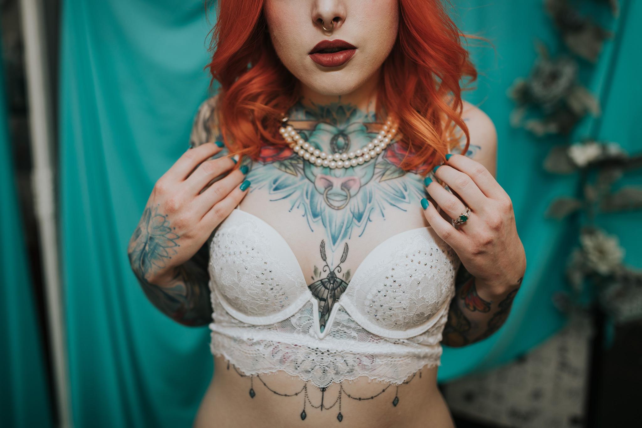 closeup tattoos and ring bridal boudoir photo