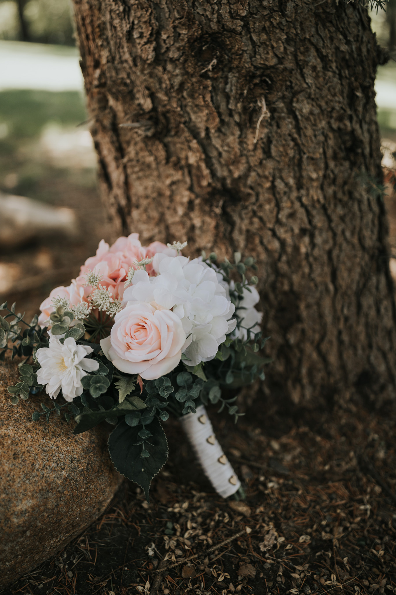 brides bouquet leaned against a tree detail photo