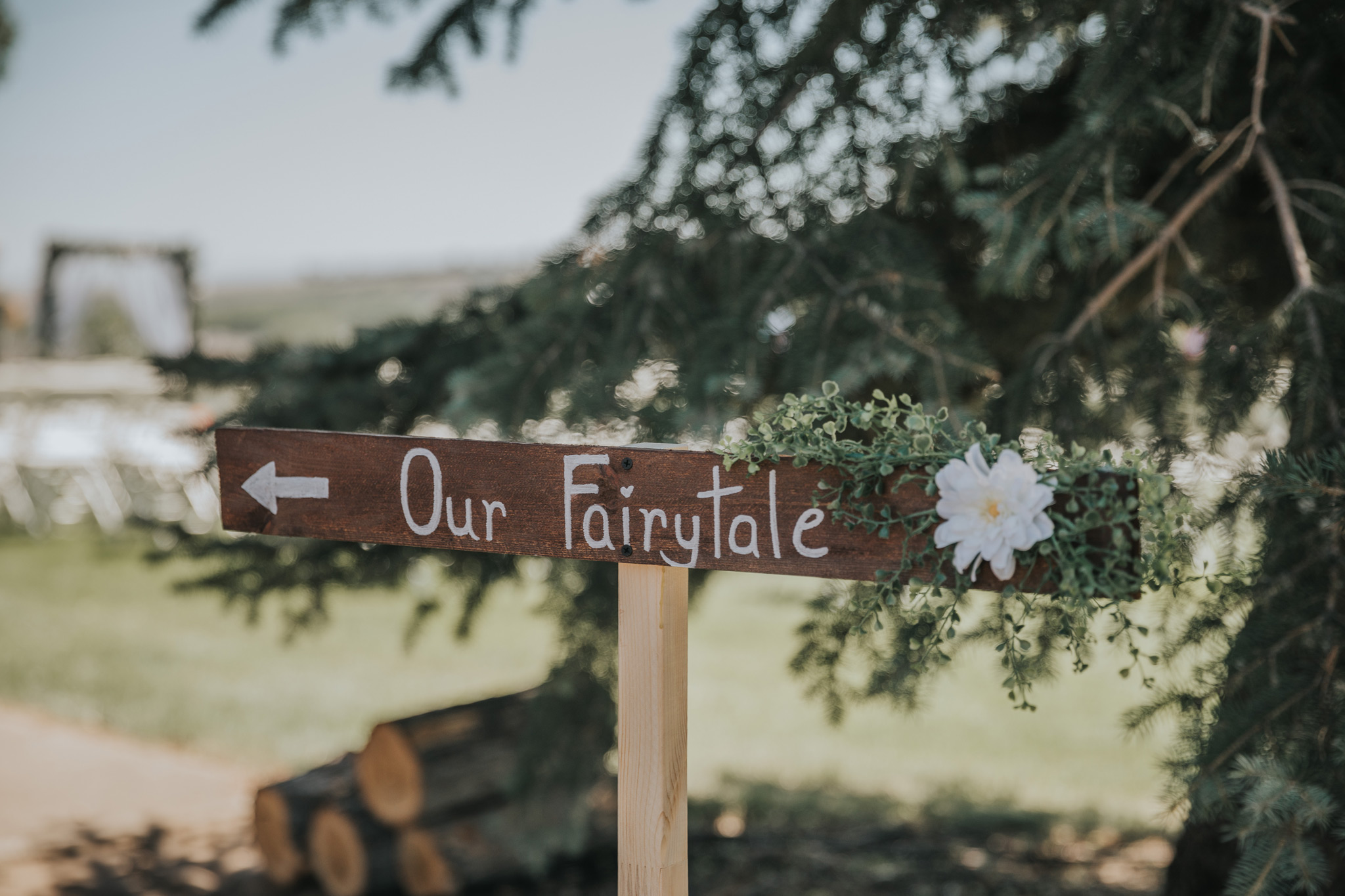 photo of directional sign at ceremony that says our fairytale