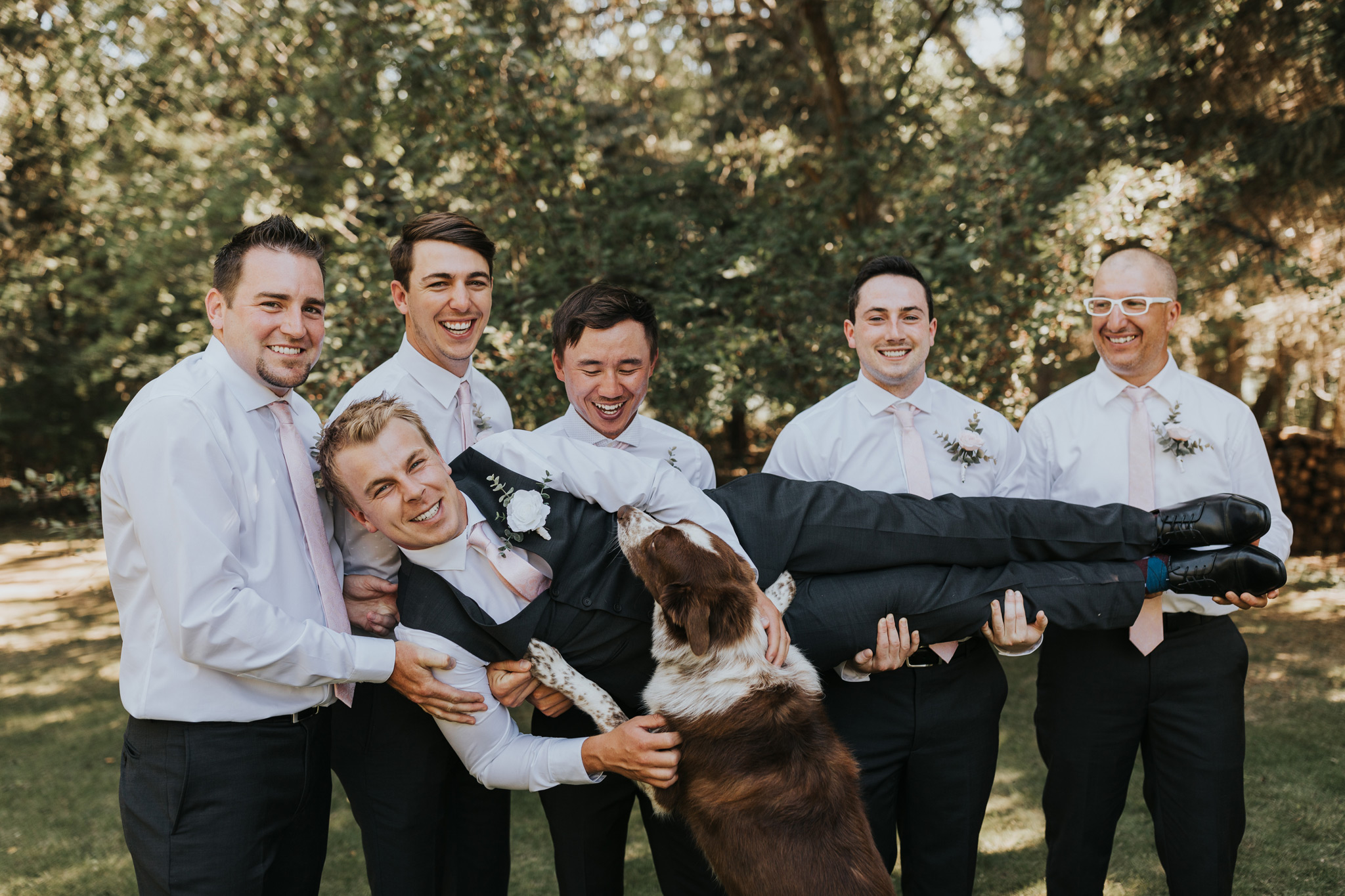 groomsmen lift groom sideways as his dog jumps up