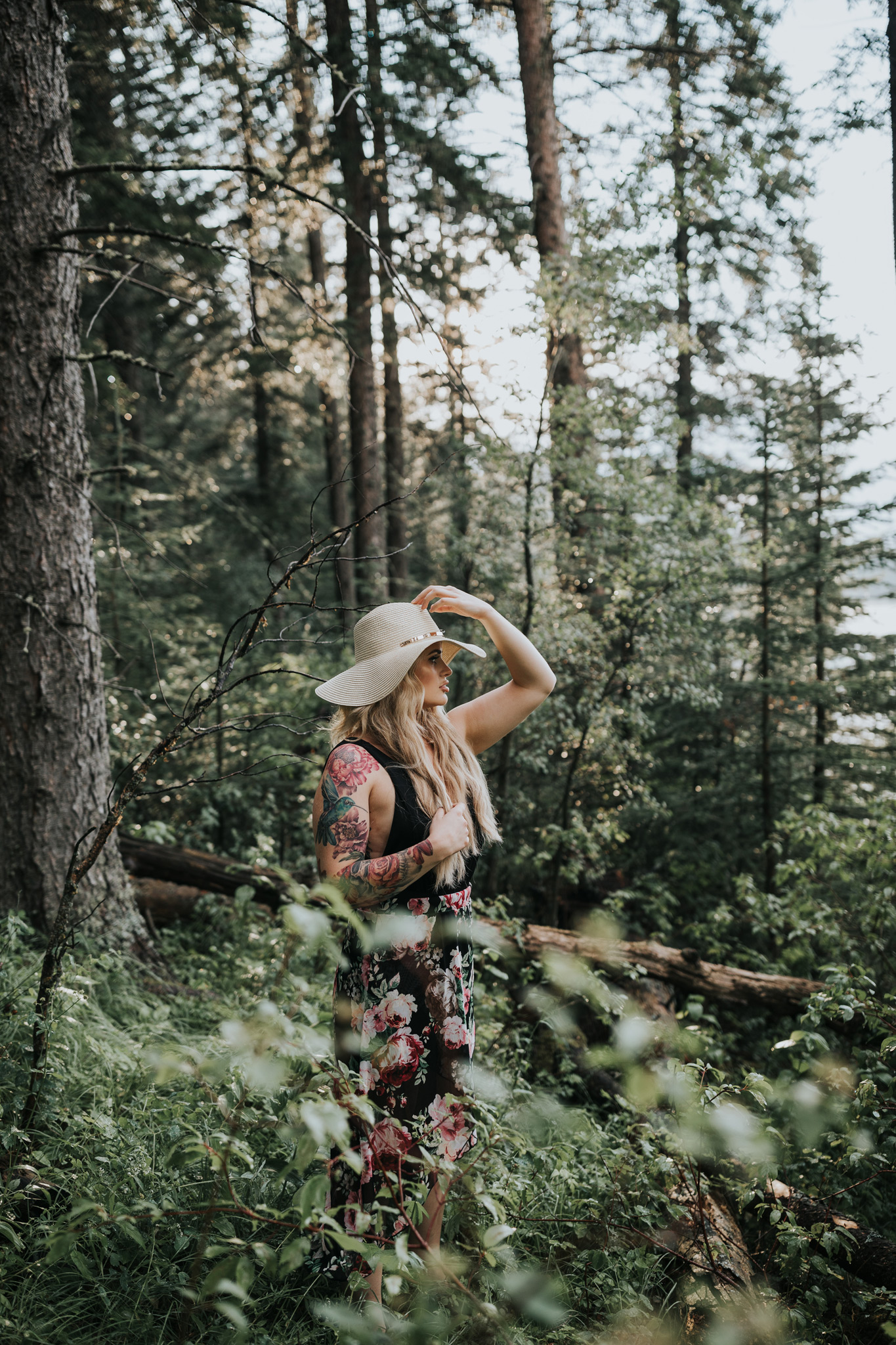 woman wearing hat in cypress hills forest