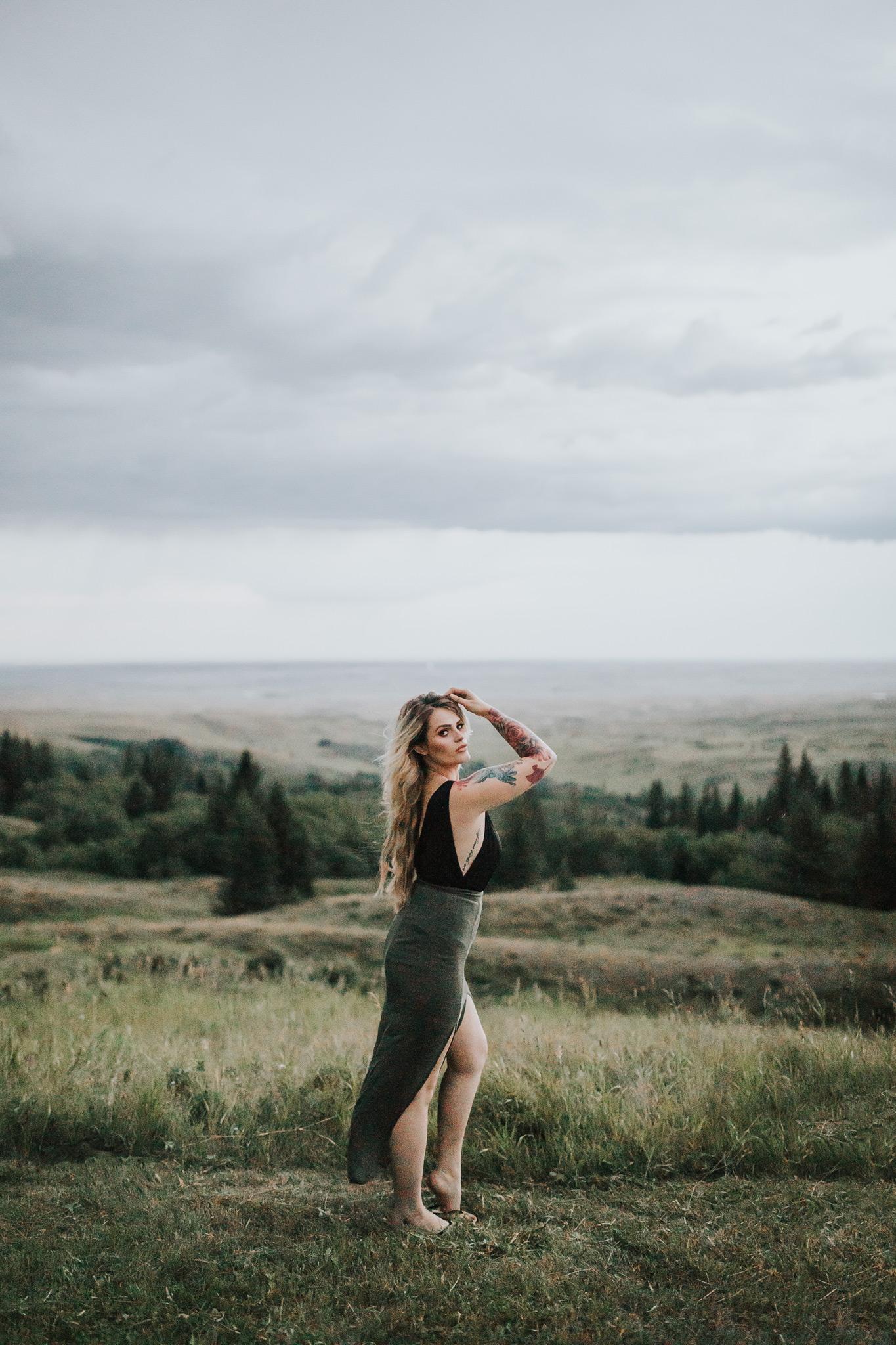 woman posing in front of reesor lake view