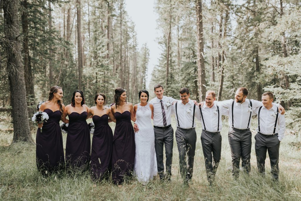 bridal party wedding photo elkwater forest