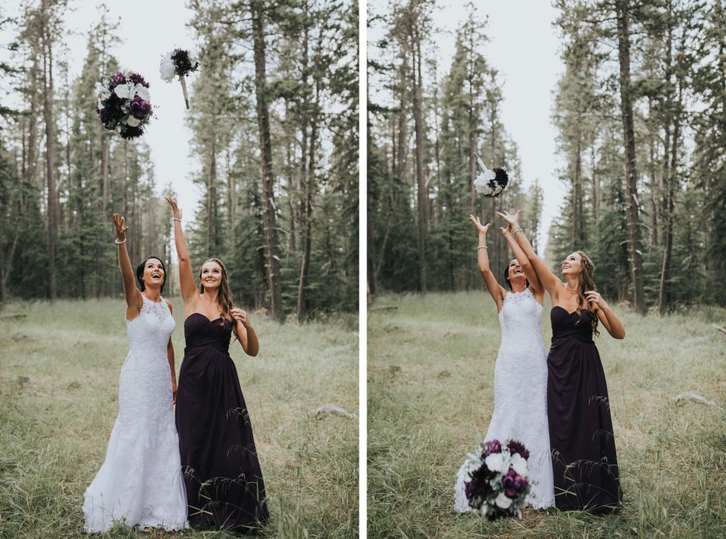 bride and bridesmaid throw bouquets and try to catch them