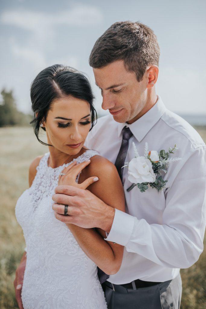 bride and groom intimate wedding portrait cypress hills alberta
