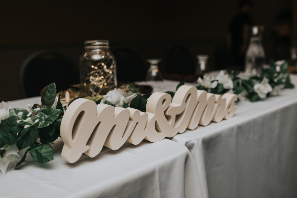 mrs and mrs wedding sign reception