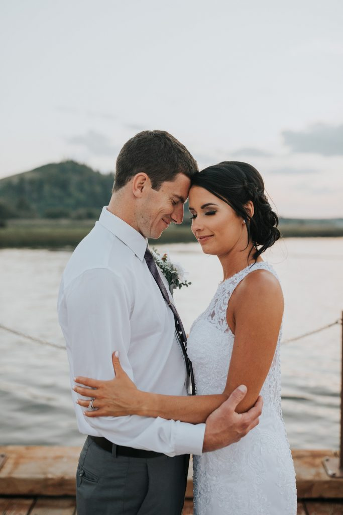 wedding couple embracing each other