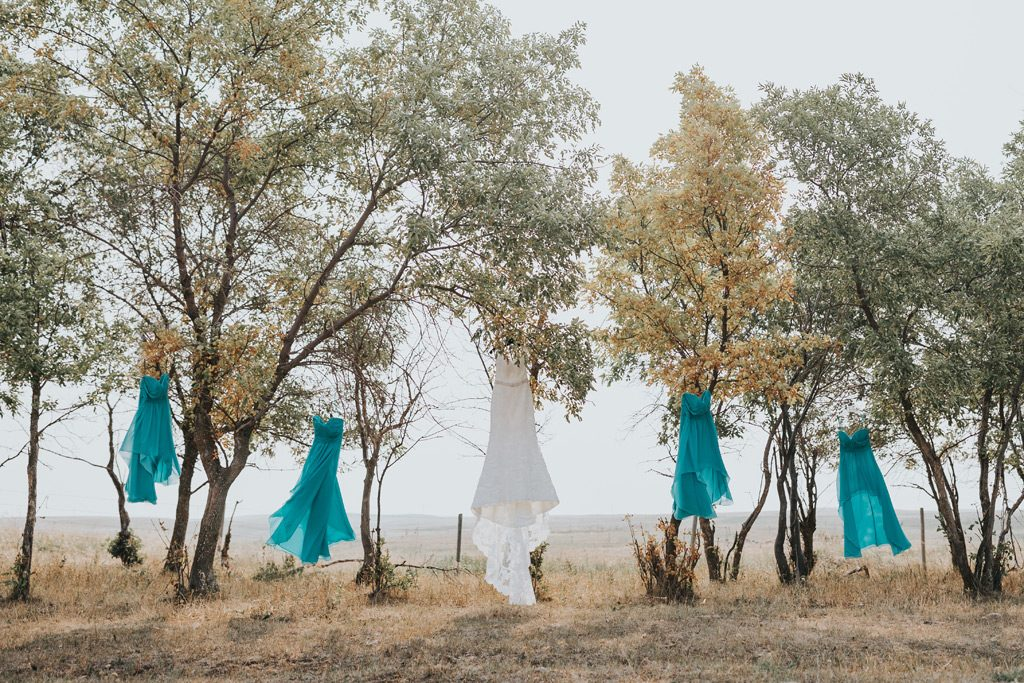 brides dress with bridesmaid dresses hanging on trees blowing in wind