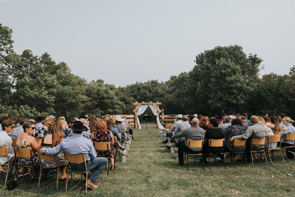 family farm wedding ceremony setup