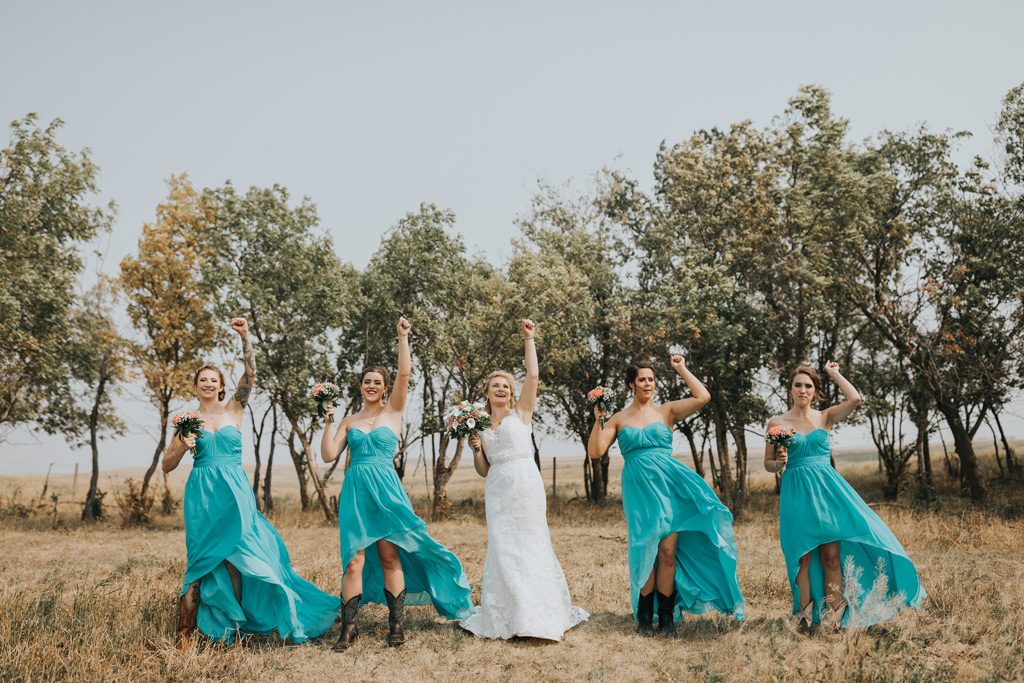 bridesmaids doing a dance
