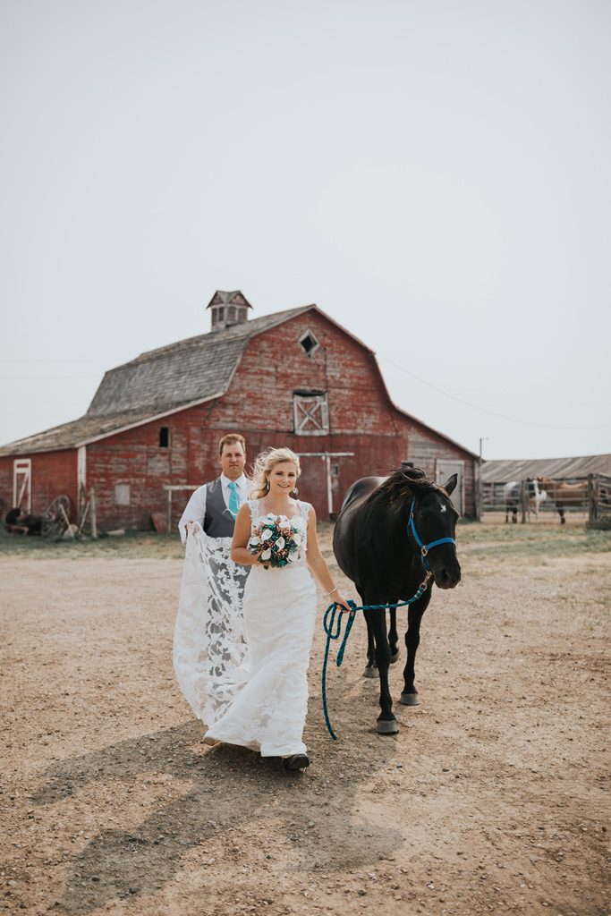 groom holds brides train as she walks her horse barn family farm wedding