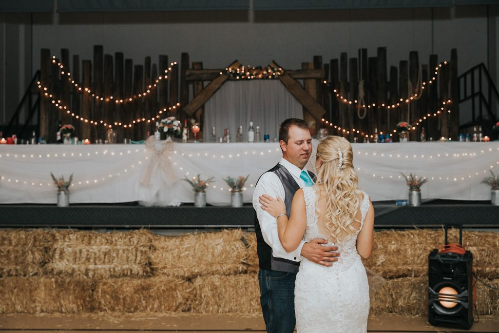 bride and grooms first dance country wedding reception