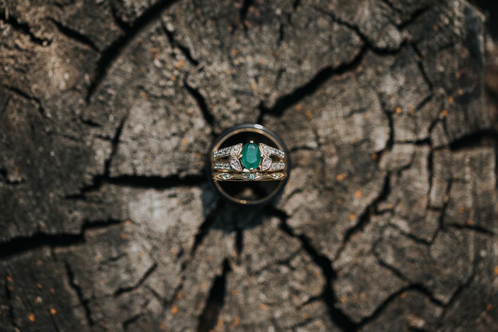 wedding rings on tree stump elkwater wedding