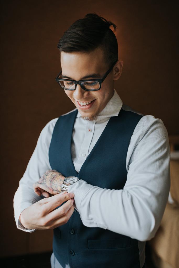 groom getting ready portrait
