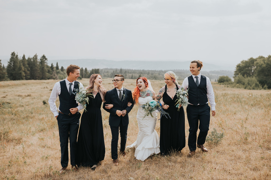 bridal party walking laughing cypress hills