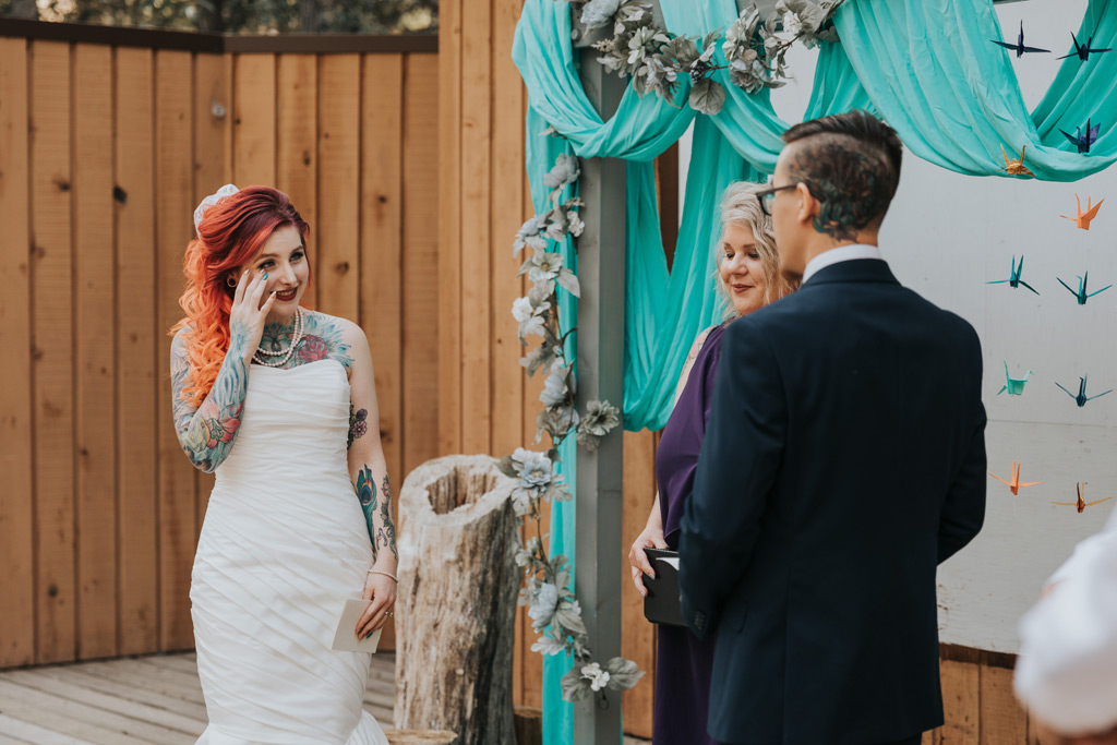 bride crying during wedding ceremony