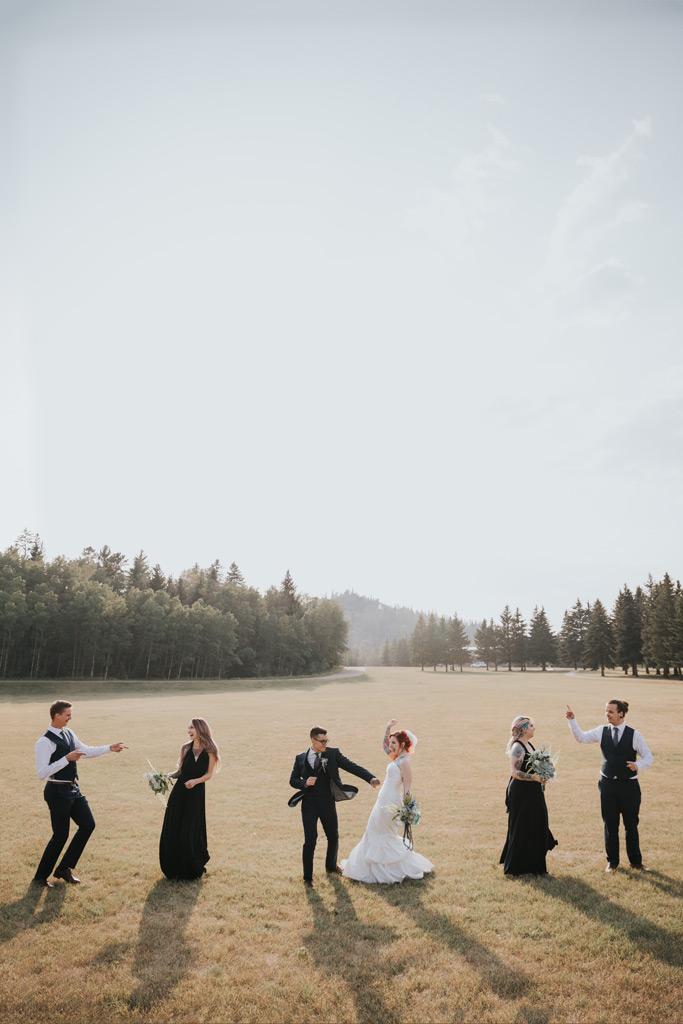 dancing bridal party in elkwater