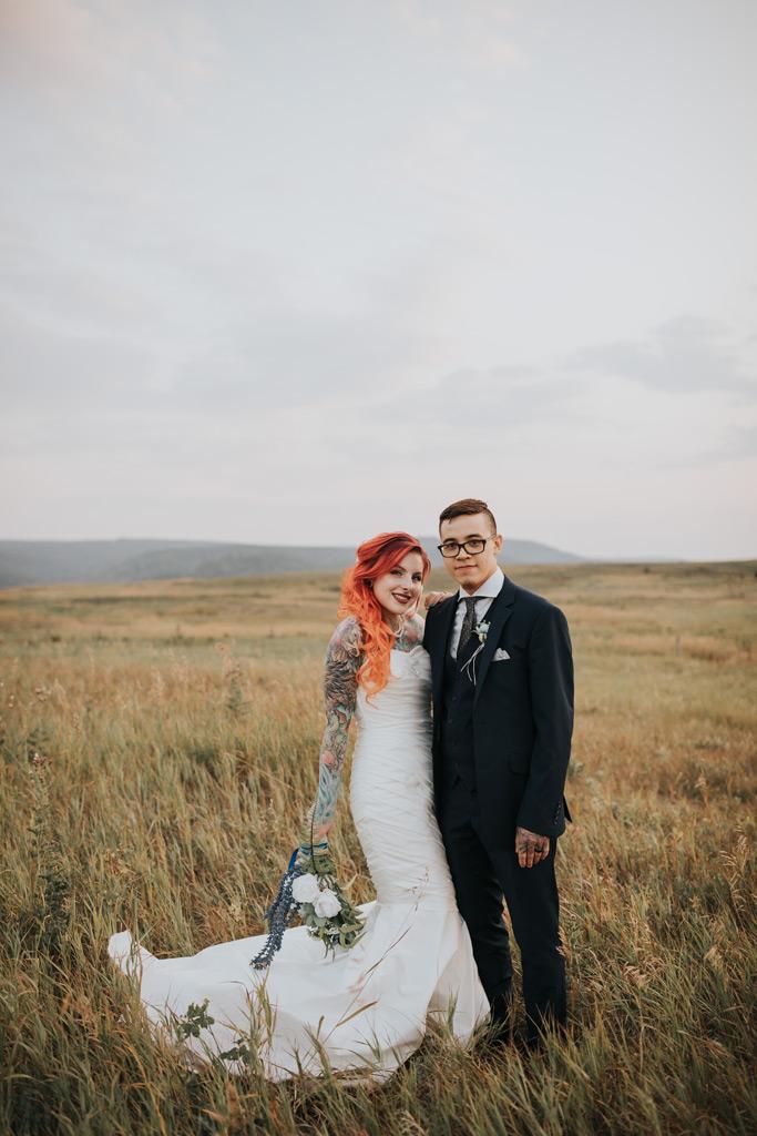 bride and groom smiling wedding day alberta cypress hills
