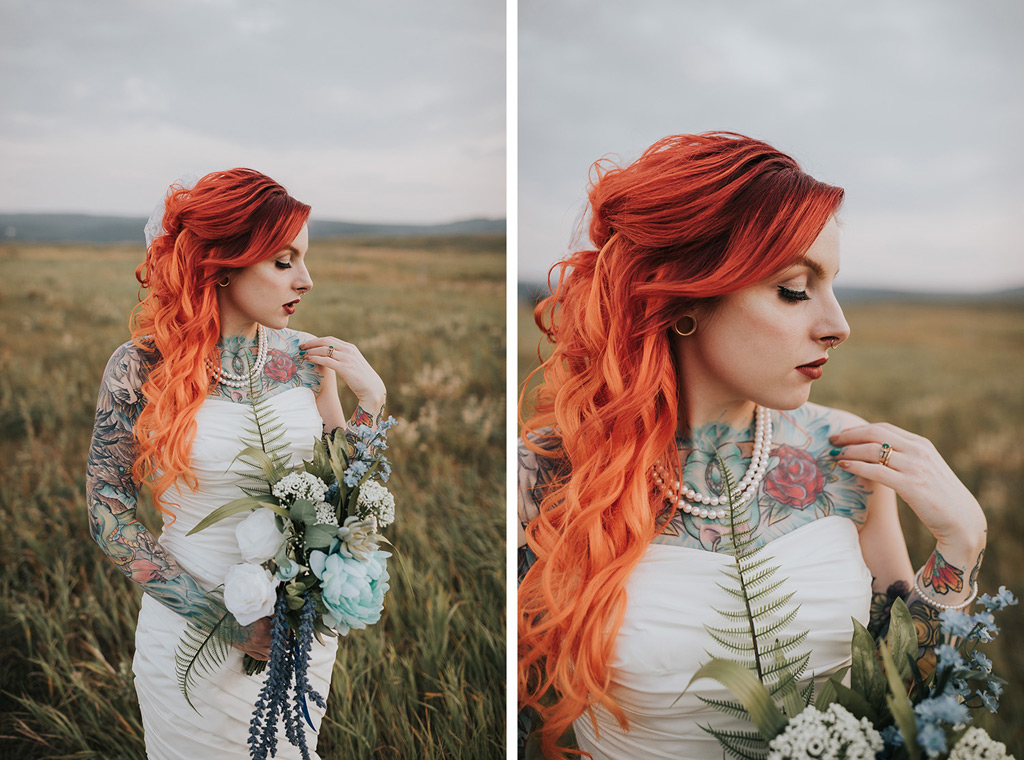 detail photo red hair bride with bouquet and ring