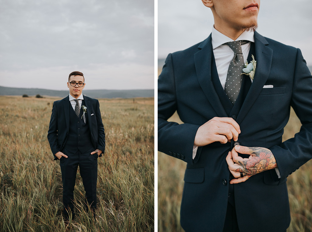 portrait of groom and details