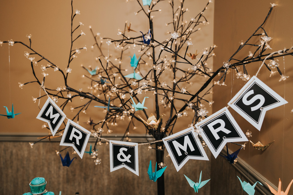 mr and mrs banner with paper cranes