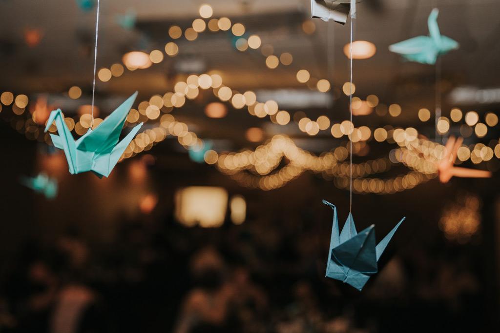 1000 paper cranes wedding reception